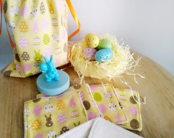 Easter Gift: Pack of 6 washable and reusable wipes in bamboo and hemp 100% Bio Oeko Tex and a pouch of Easter decoration
