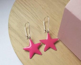 Pink stars earrings