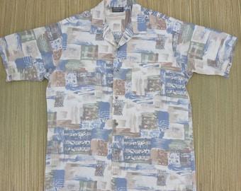 California Beach Shirt TRIUMPH of CALIFORNIA Vintage 80s Surfer Hawaiian Tribal Print Design Mens - L - Oahu Lew's Shirt Shack