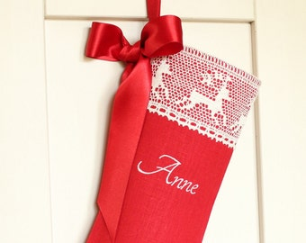 Personalized Christmas stocking Red Christmas stocking Lace Christmas stocking Linen Christmas Stocking