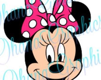 Minnie Head w/ Pink Bow SVG