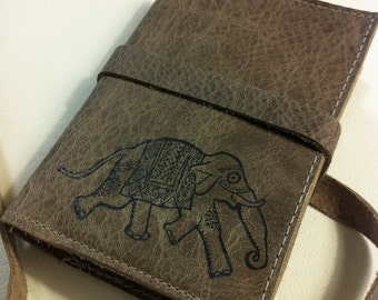 Leather Journal - Leather Sketchbook Cover - Personalized - Monogram - Elephant