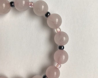 Rose Quartz Bracelet | Semi-Precious Stone Bracelet - Pink