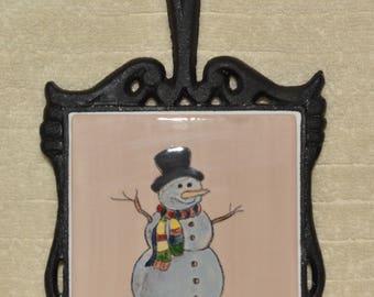 Trivet, Snowman, Cast Iron, Ceramic Tile, Handle, Home Decor, Kitchen, Mocha Brown, Wall Hanging,