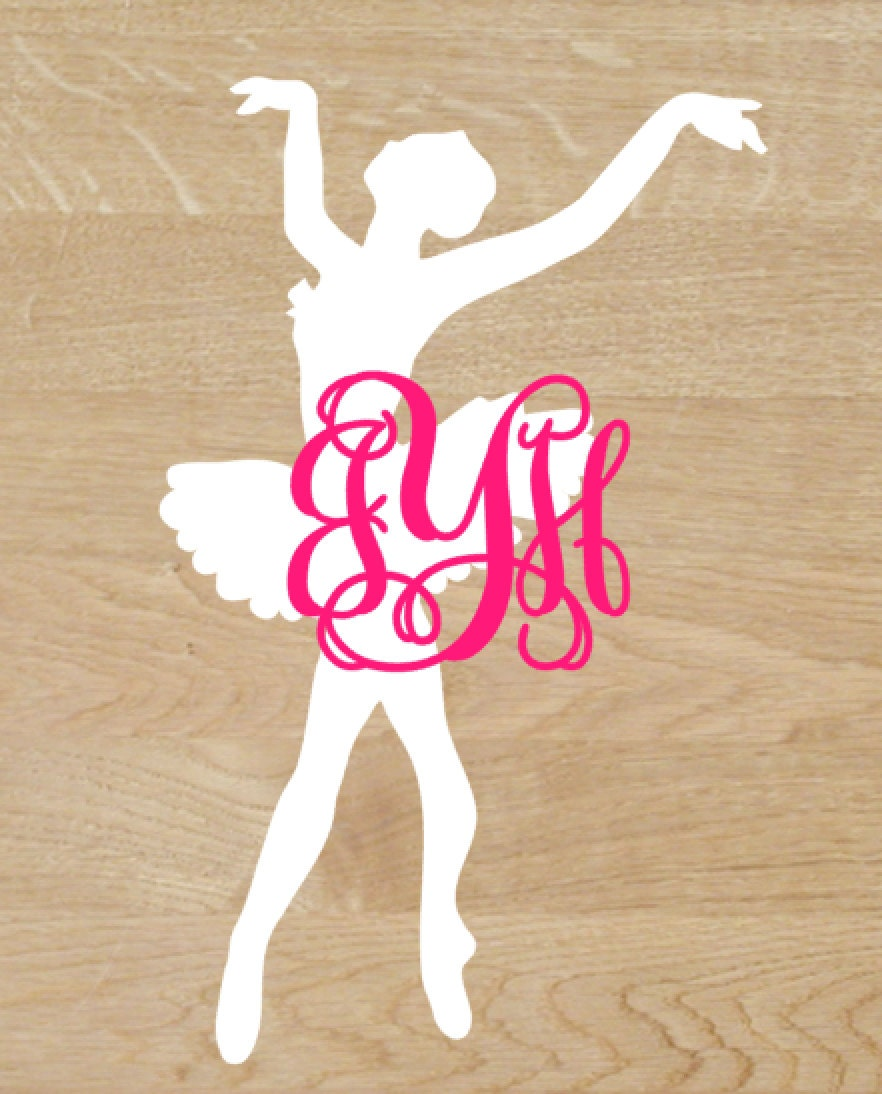 ballerina with name or monogram decal free shipping. Black Bedroom Furniture Sets. Home Design Ideas