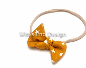 One Size Fits All- Top Knot Elastic Headband/Bow Collection- Starry Earth on nylon or metal clip