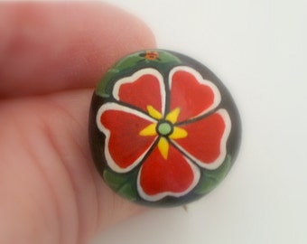 FREE SHIPPING-painted rock statement jewelry-silver adjustable ring-garnet red primrose blossom-fashion gift for her-OOAK 3D botanical art