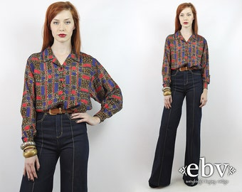 Vintage 80s Leopard Print Silk Secretary Blouse S M L Leopard Blouse Silk Blouse Longsleeve Blouse Work Blouse Button up Blouse