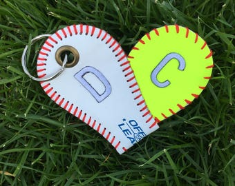 Softball and Baseball Heart Keychain with PERSONALIZED Number--Great Gift for Baseball and Softball Moms and Dads/Great Coaches Gift