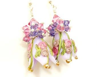 Purple Earrings, Tulip Earrings, Floral Earrings, Lampwork Earrings, Flower Earrings, Glass Bead Earrings, Glass Earrings, Cluster Earrings