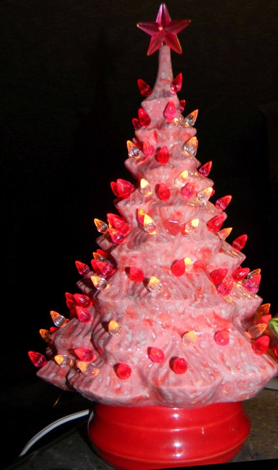 Lighted Ceramic Christmas Tree Pink Vintage Fashioned