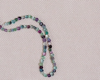 Multi-color fluorite beaded necklace, sterling silver hook & eye clasp and findings