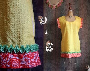 Sz M Yellow Vintage 60s Retro Mod Mini Short Dress