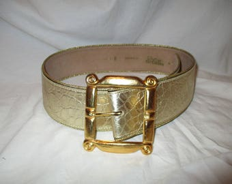 Patricia Green Details croc embossed leather belt