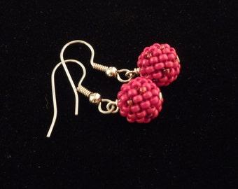 Red Seed Bead Earrings, Beaded Earrings, Dangle Ball Earrings, Beaded Bead Earrings, Glass Bead Earrings, Casual Earrings / Teen Earrings