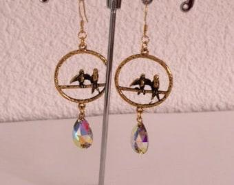 Handmade earrings birds prints