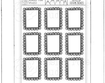 Scalloped Frame Full Box Hand Drawn Planner Stickers