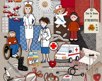Digital kit AT THE HOSPITAL,hospital, health, doctor, nurse, illness