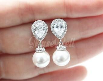 Swarovski White Pearl Earrings, Wedding Earrings, Bridal Earrings, Luxury Cubic Zirconia Earrings, Drop Earrings, Bridesmaid Gift, Aria