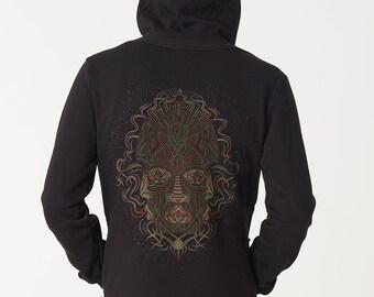 Visionary Mens Hoodie Hooded Jacket, Psychedelic Hoodie, Black Hoodie, Dmt, Psy Clothing, Zip Hoodie, Men Festival Hoodie