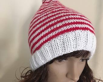 "Knit Elf Hat, Christmas Hat, Red Elf Hat, Adult Medium Elf Hat (20-21.5"")  (KH-025)"