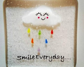 Smile Everyday Fused Glass Coaster, Rainbow Rain Cloud, a cheerful coaster for your home or a gift for a friend. Smiling Cloud, Handmade