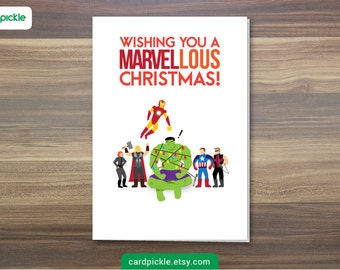 DOWNLOAD Printable Card - Christmas Card - Avengers Card - Marvel Card - Avengers Christmas