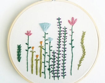 "Wild Flowers - 7"" Handmade Embroidery Hoop - Wall Art"