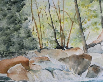 Original landscape watercolor painting fine art paintings California landscape original watercolor painting original artwork river creek bed