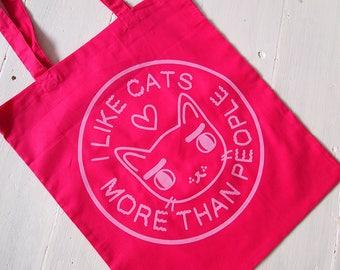 Pink I like Cats Tote Bag - Tote bag - Cat tote bag - Cat bag - I like Cats - Screen printed bag - Cats - tote bag - Kawaii - Cute fashion