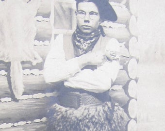 The Oklahoma Kid - Handsome 1910's Carnival Cowboy RPPC Real Photo Postcard - Free Shipping