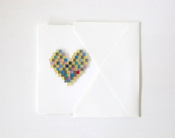 Mosaic Heart . Mother's Day . Valentine's Day . Friendship . Love . Greeting Card - Shimmer