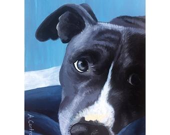"""Puppy Eyes Study 4 - Original acrylic on board 5x7"""""""