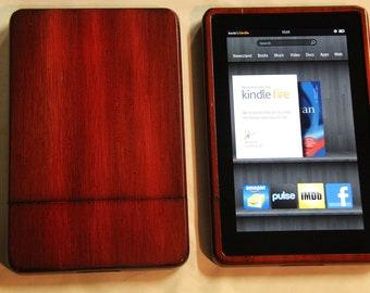 Kindle Fire Wood Case - custom red mahogany finish