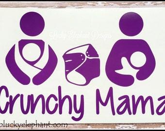 Crunchy Mama Car Vinyl Decal - Crunchy Mama Decal - Babywearing Cloth Diaper Breastfeeding Decal - Crunchy Mama Logo - Many Colors Available