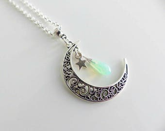 Watermark and drop green water Swarovski Crystal Moon necklace