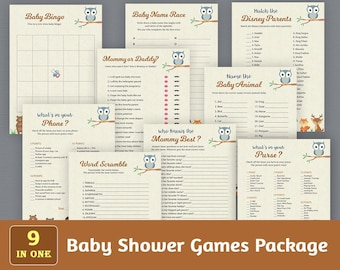 Baby Shower Games Package, Printable Party Games Bundle, Baby Shower Games Set, Woodland Forest Animals, Unique Games Pack, SPKG, B009