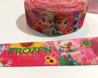 3 Yards of Ribbon - Pink Frozen with Olaf Elsa Anna 1 inch Wide