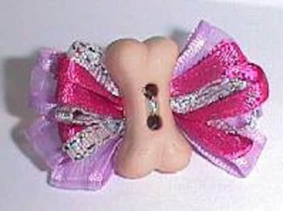 Puppy Bows ~ barrette brown or Purple wild loop dog bone  dog grooming bow ~ Made in the USA