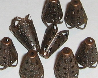 10 Antique Copper Cone Bead Caps (bcc11)