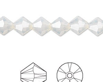 6mm Light Grey Opal Swarovski Bicone Crystals - Light Grey Opal - Pack of 25