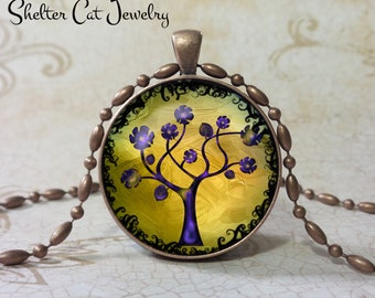 "Tree of Life Pendant - Purple and Yellow - 1-1/4"" Round Necklace or Key Ring - Handmade Wearable Photo Art Jewelry"