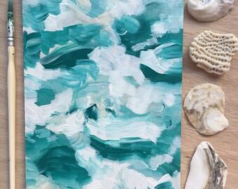 Se briser les vagues 5 x 7 peinture - livraison gratuite