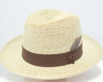 Men's Straw Homburg Hat
