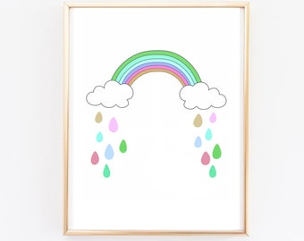 Nursery print - rainbow print - girl nursery - nursery prints - nursery art - nursery decor - wall decor - wall art