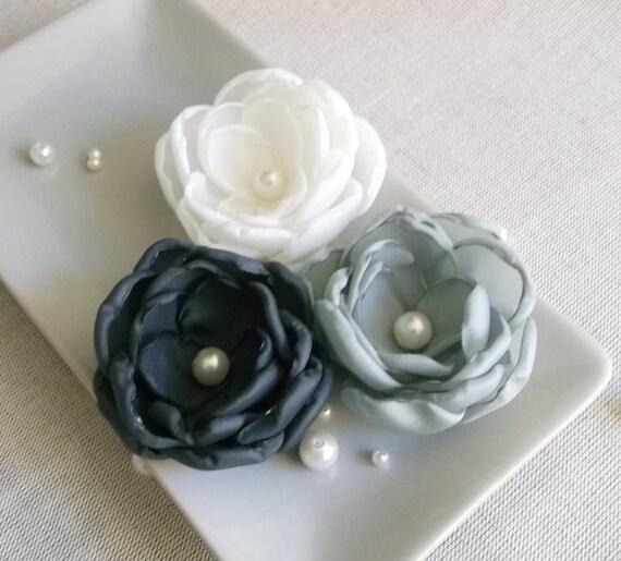 fiori di stoffa fatti a mano avorio grigio carbone di legna