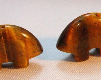 Tiger Eye Zuni Bear beads pair for earrings Finally back in Stock