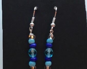 Blue Beaded Drop Earrings, Blue Beaded Earrings, Blue Drop Earrings, pale blue dark blue earrings, blue earrings, drop earrings blue