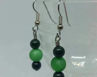 Green Marble Earrings with Surgical Steel Ear Hooks