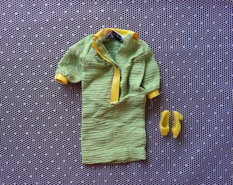 Vintage Barbie Doll Dress/ Snap Dash with shoes and stalkings